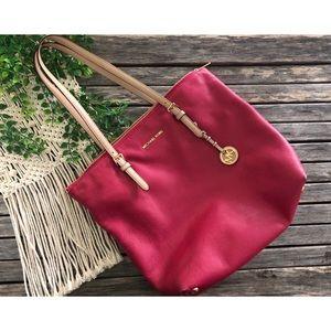 MICHAEL KORS Women's Pink Tan Leather Tote Purse